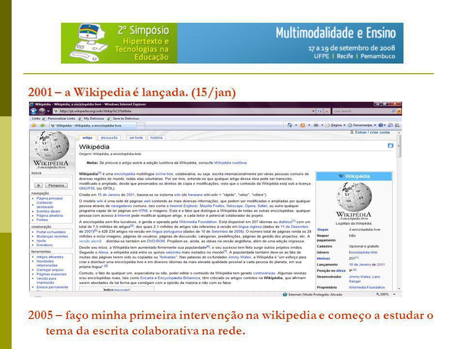 2001 – a Wikipedia é lançada. (15/jan)