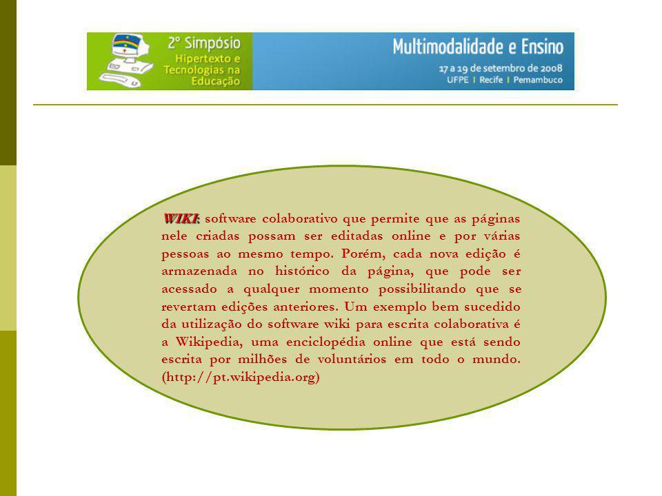 WIKI: software colaborativo que permite que as páginas nele criadas possam ser editadas online e por várias pessoas ao mesmo tempo.