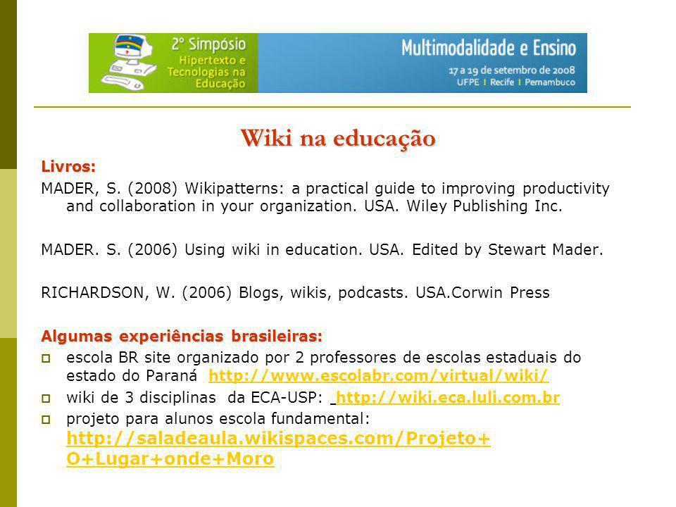Wiki na educação Livros: