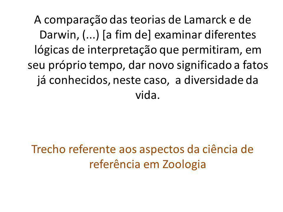 A comparação das teorias de Lamarck e de Darwin, (