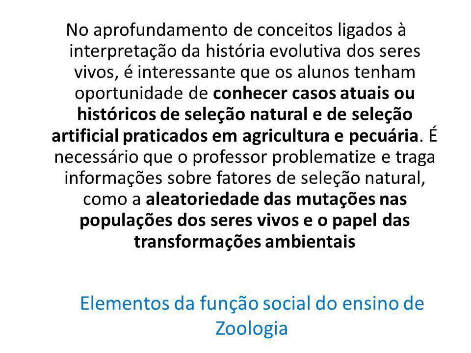 Elementos da função social do ensino de Zoologia