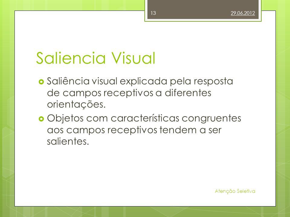 29.06.2012 Saliencia Visual. Saliência visual explicada pela resposta de campos receptivos a diferentes orientações.