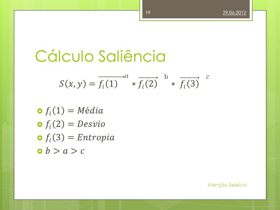 Cálculo Saliência 𝑆 𝑥,𝑦 = 𝑓 𝑖 1 𝑎 ∗ 𝑓 𝑖 2 b ∗ 𝑓 𝑖 3 𝑐 𝑓 𝑖 1 =𝑀é𝑑𝑖𝑎