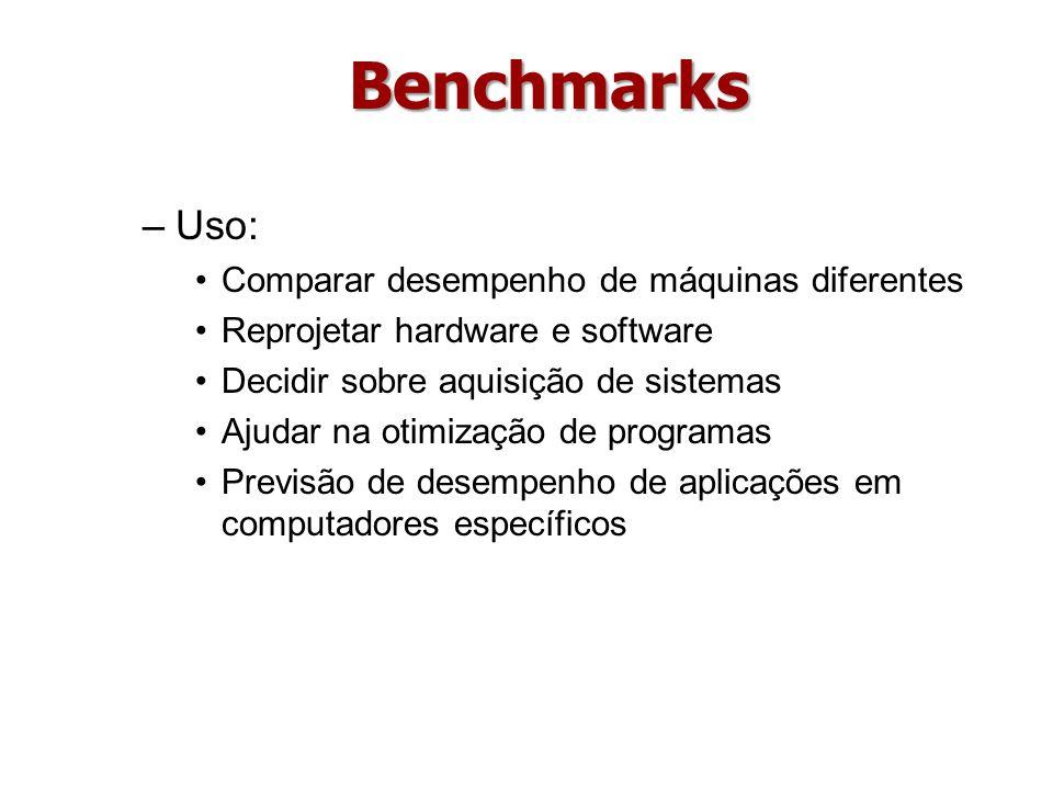 Benchmarks Uso: Comparar desempenho de máquinas diferentes