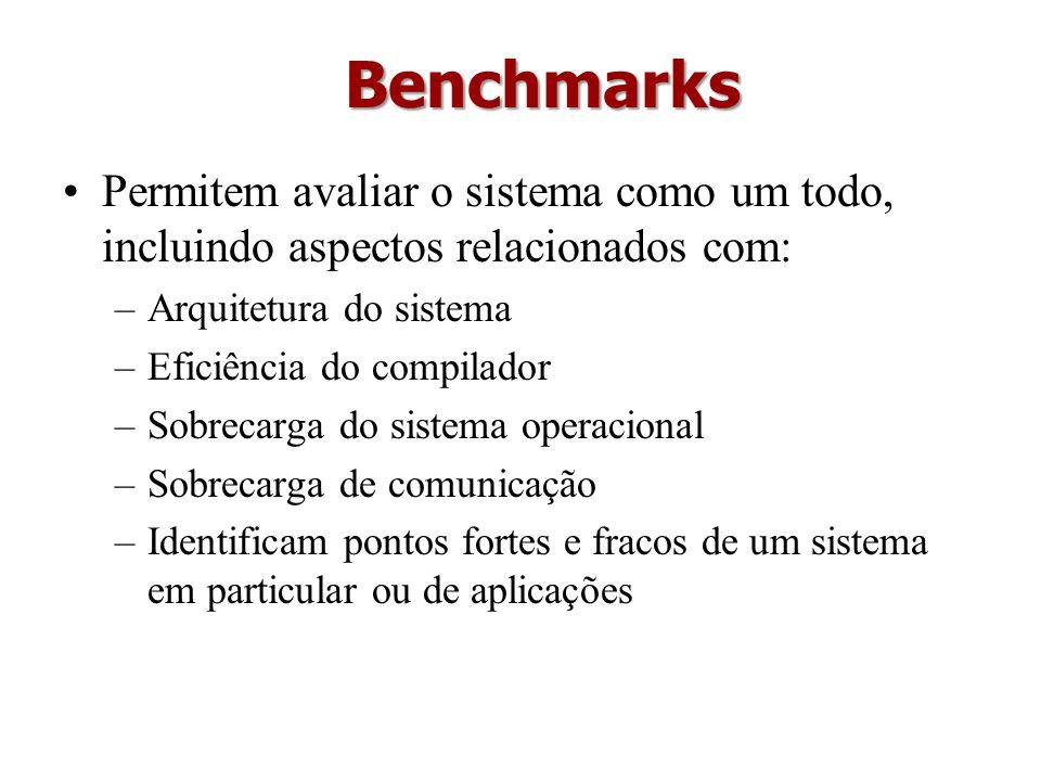 Benchmarks Permitem avaliar o sistema como um todo, incluindo aspectos relacionados com: Arquitetura do sistema.