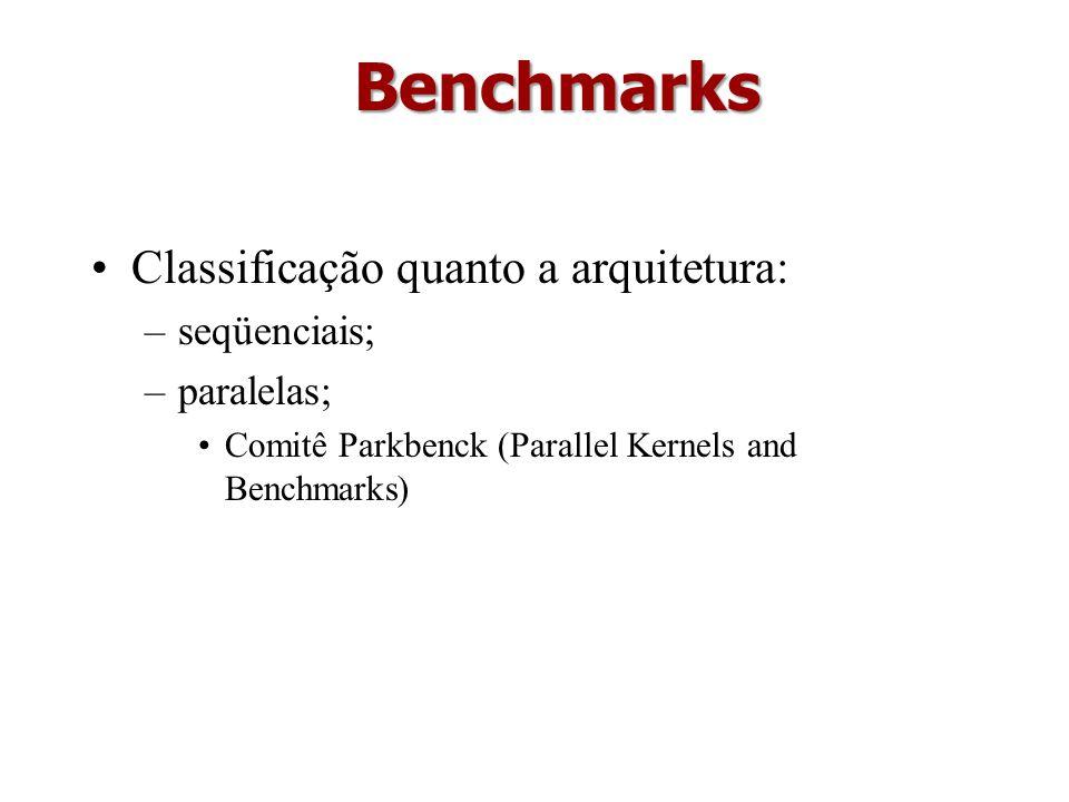 Benchmarks Classificação quanto a arquitetura: seqüenciais; paralelas;