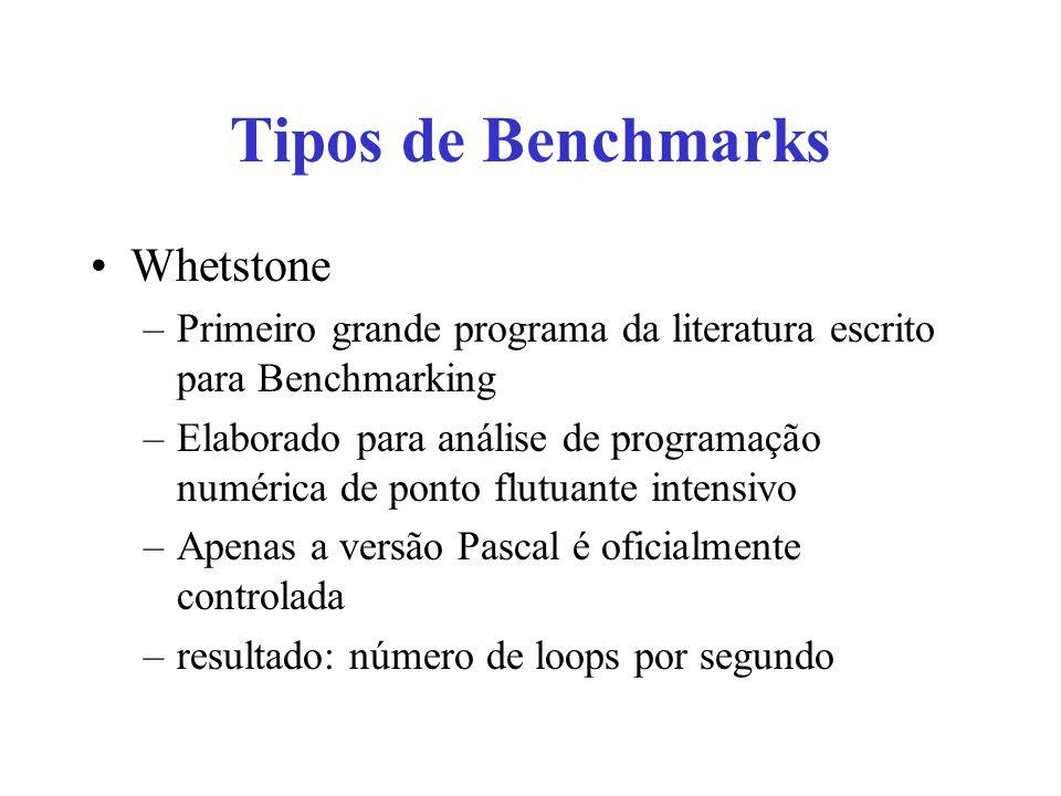 Tipos de Benchmarks Whetstone