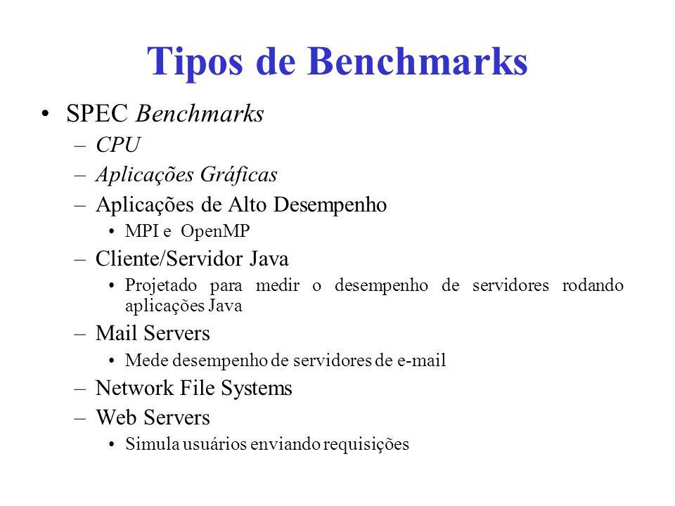 Tipos de Benchmarks SPEC Benchmarks CPU Aplicações Gráficas