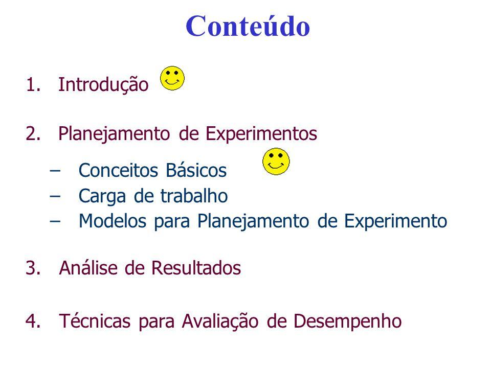 Conteúdo Introdução Planejamento de Experimentos Conceitos Básicos
