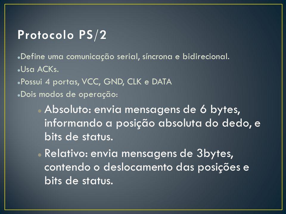 Protocolo PS/2 Define uma comunicação serial, síncrona e bidirecional. Usa ACKs. Possui 4 portas, VCC, GND, CLK e DATA.