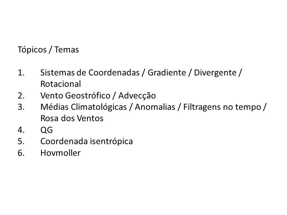 Tópicos / Temas Sistemas de Coordenadas / Gradiente / Divergente / Rotacional. Vento Geostrófico / Advecção.