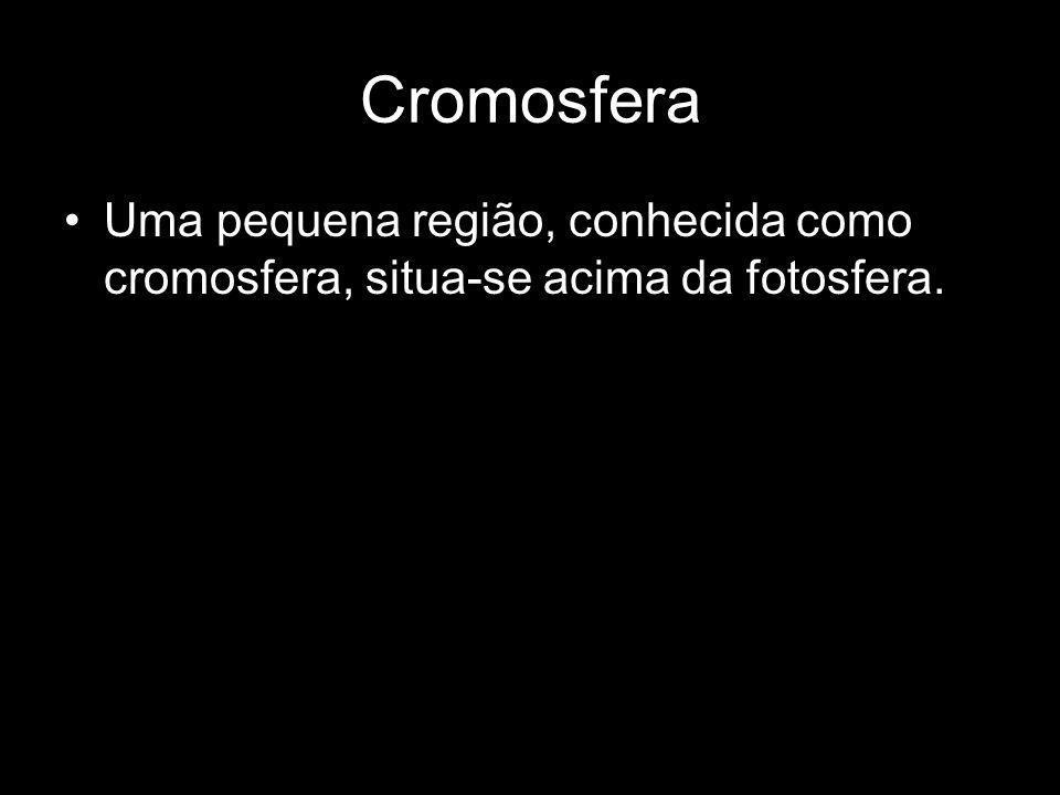 Cromosfera Uma pequena região, conhecida como cromosfera, situa-se acima da fotosfera.