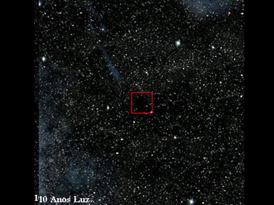 Imagens celestes que representam uma saída hipotética da Terra de um observador até uma distância de 10 anos-luz.