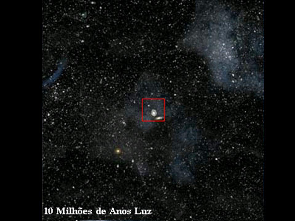 A seqüência de imagens representa a continuação do percurso hipotético que o observador que saiu da Terra faria até uma distância de 10 milhões de anos-luz de distância.