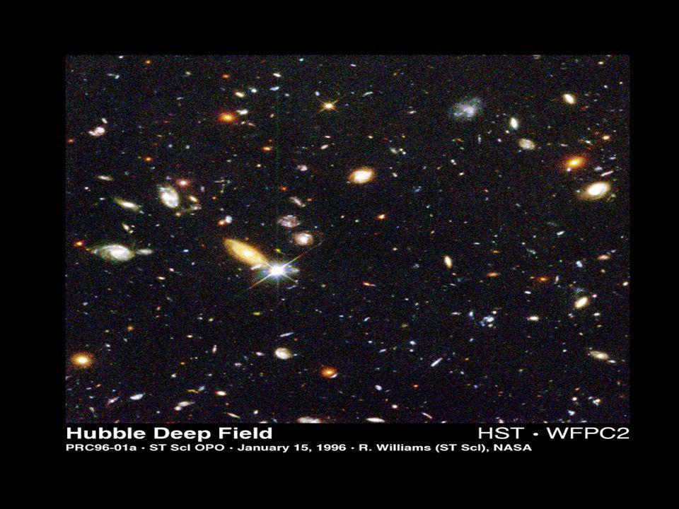 Imagens de objetos a alguns bilhões de anos-luz de distância.