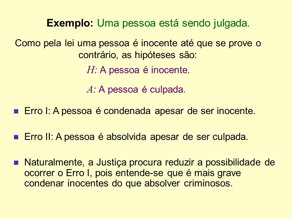 Exemplo: Uma pessoa está sendo julgada.
