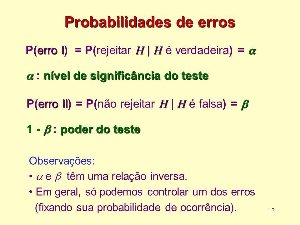 Probabilidades de erros