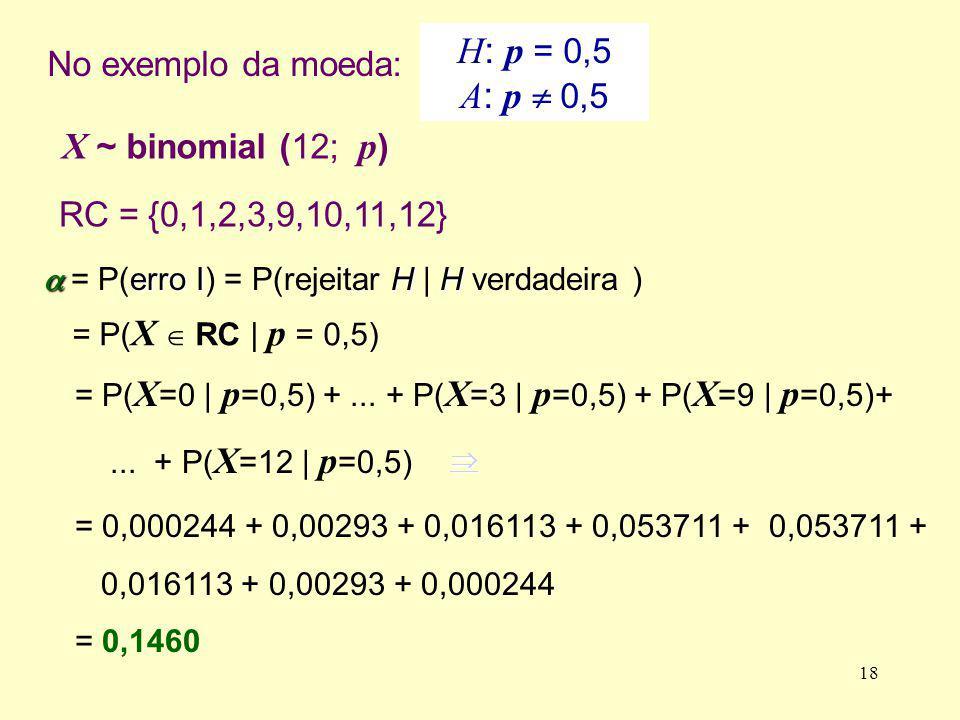 a = P(erro I) = P(rejeitar H | H verdadeira )