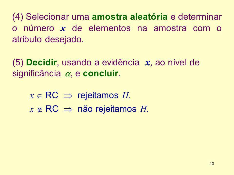 (4) Selecionar uma amostra aleatória e determinar o número x de elementos na amostra com o atributo desejado.