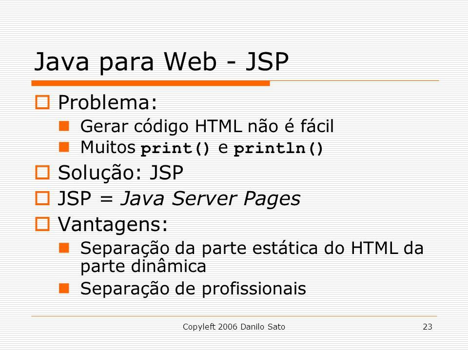Java para Web - JSP Problema: Solução: JSP JSP = Java Server Pages