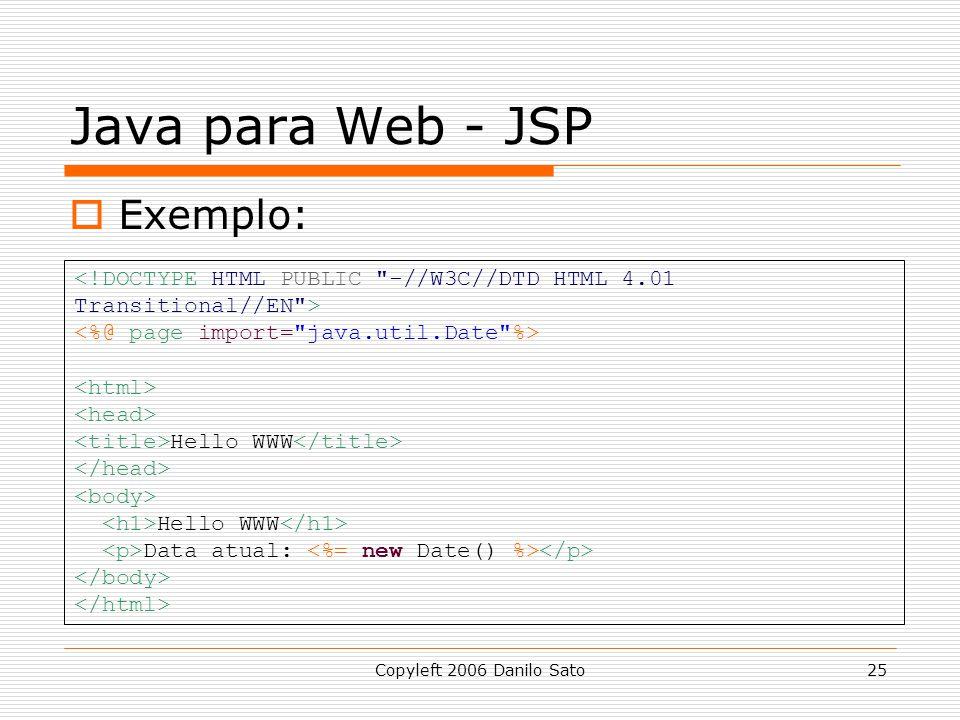 Java para Web - JSP Exemplo: