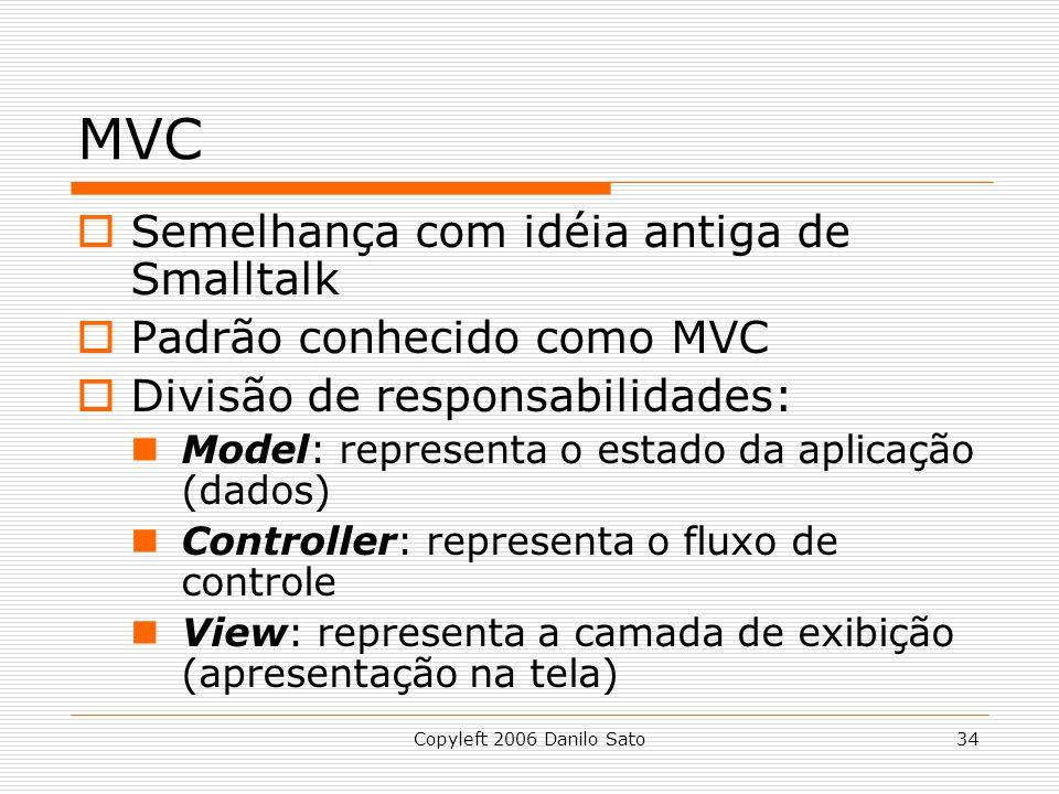 MVC Semelhança com idéia antiga de Smalltalk Padrão conhecido como MVC