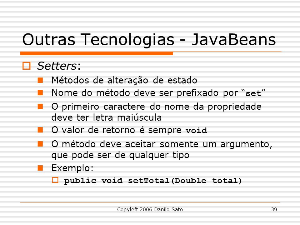 Outras Tecnologias - JavaBeans