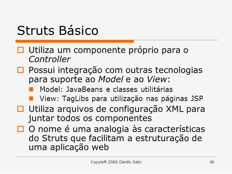 Struts Básico Utiliza um componente próprio para o Controller