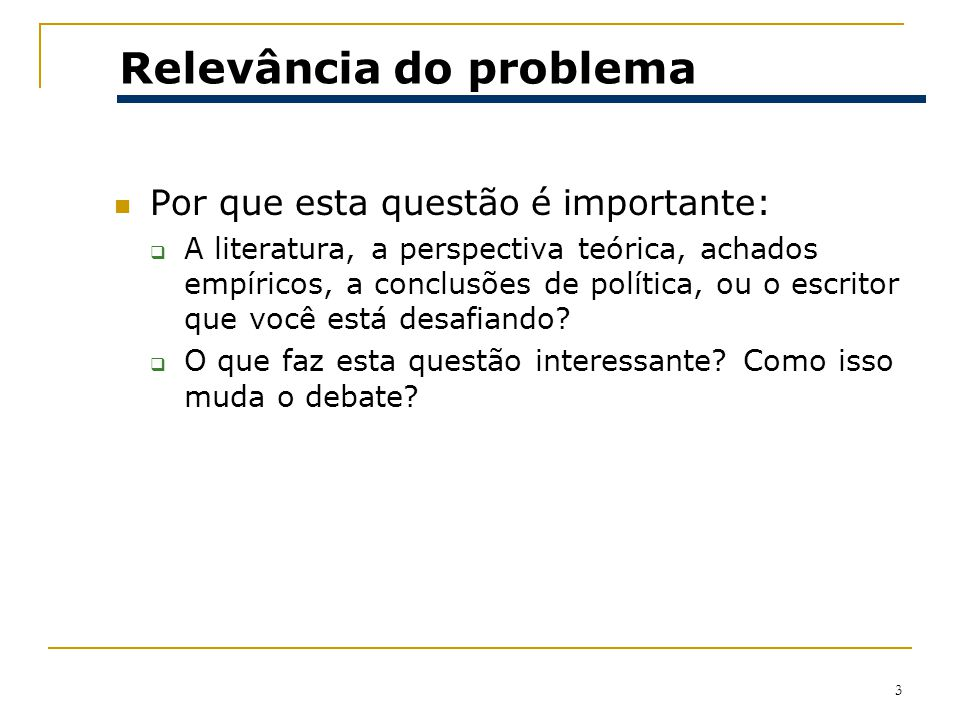 Relevância do problema