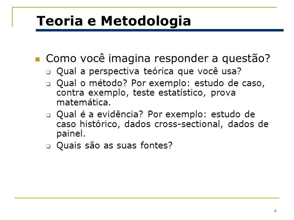 Teoria e Metodologia Como você imagina responder a questão