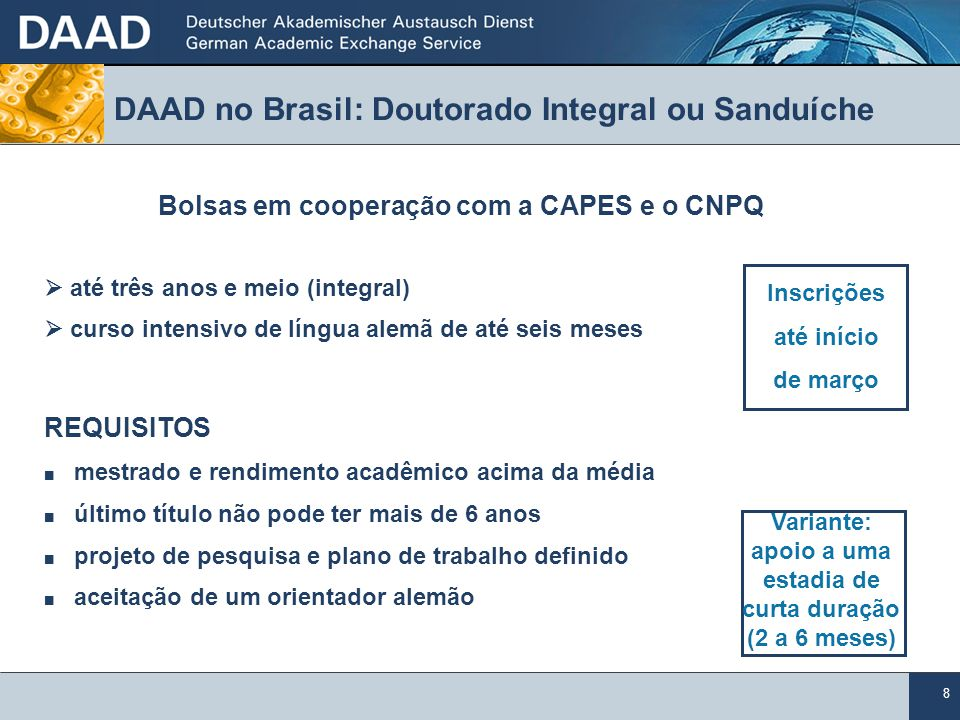 DAAD no Brasil: Doutorado Integral ou Sanduíche