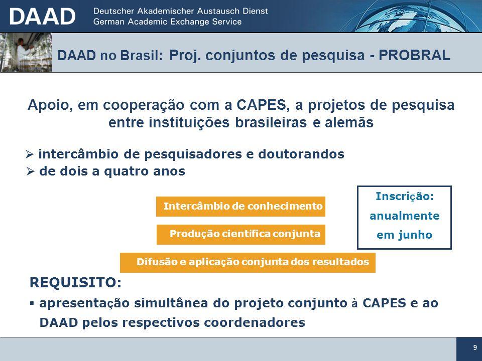 DAAD no Brasil: Proj. conjuntos de pesquisa - PROBRAL