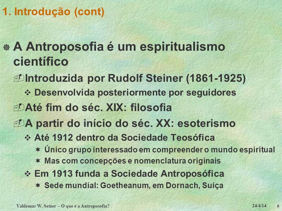 Valdemar W. Setzer – O que é a Antroposofia