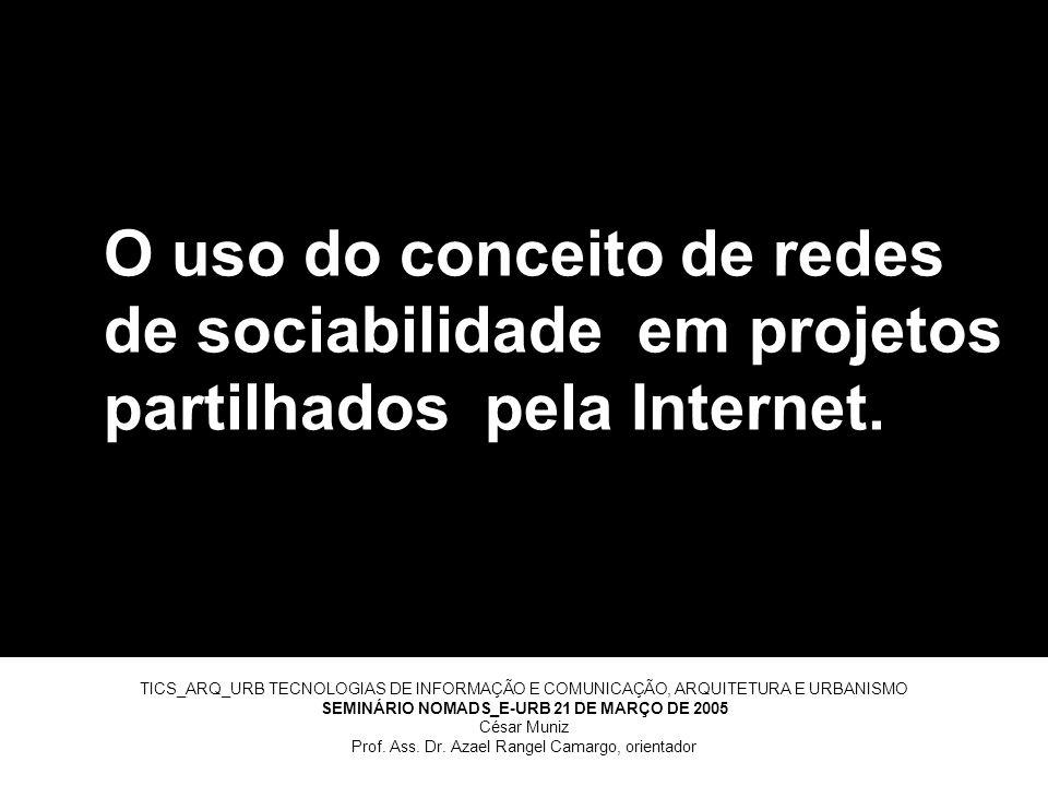 O uso do conceito de redes de sociabilidade em projetos partilhados pela Internet.