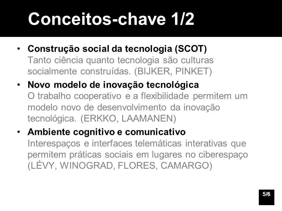 Conceitos-chave 1/2 Construção social da tecnologia (SCOT) Tanto ciência quanto tecnologia são culturas socialmente construídas. (BIJKER, PINKET)