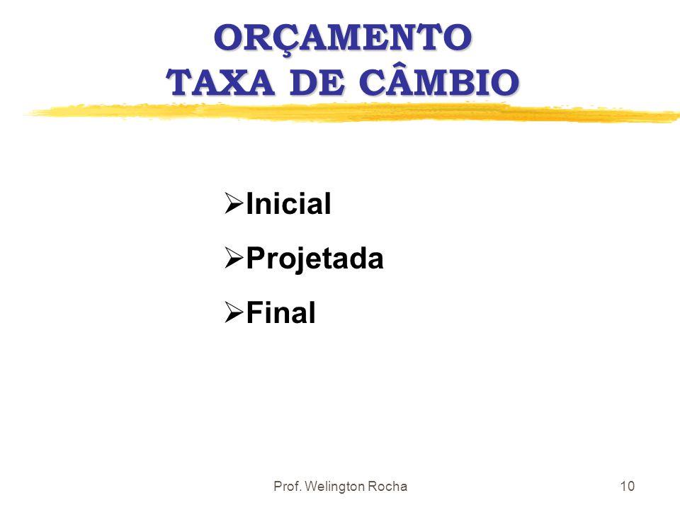 ORÇAMENTO TAXA DE CÂMBIO