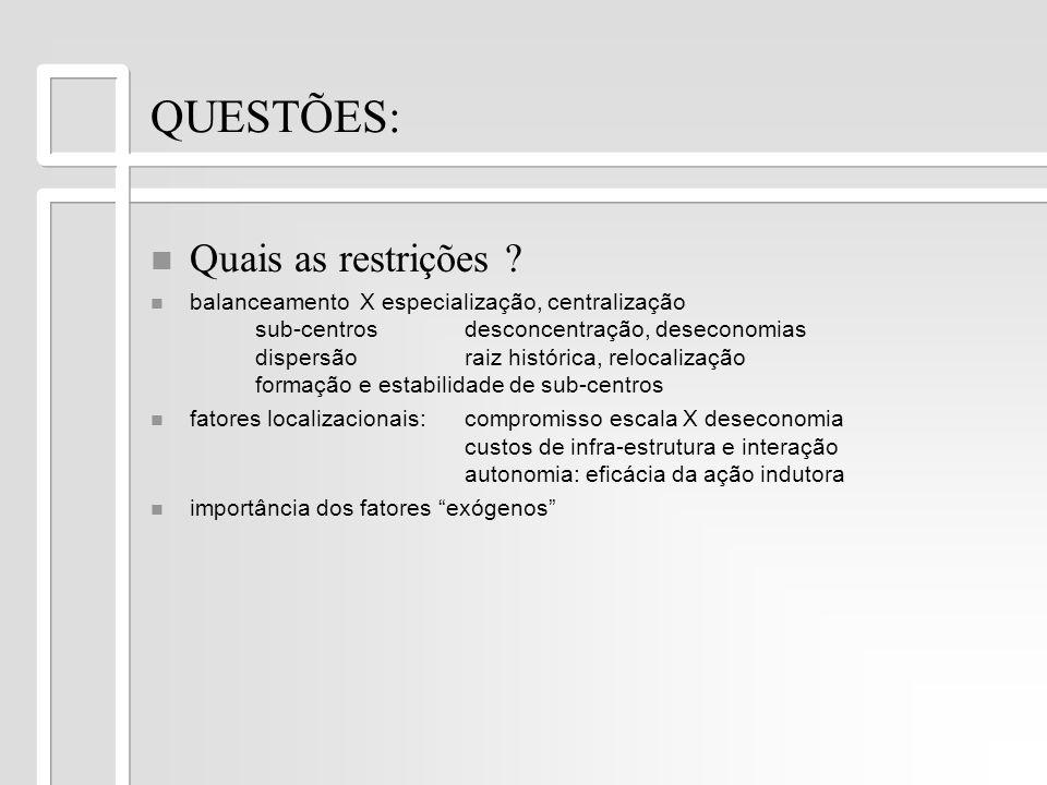 QUESTÕES: Quais as restrições