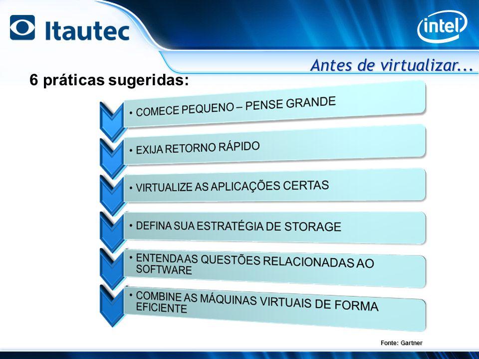 Antes de virtualizar... 6 práticas sugeridas: Fonte: Gartner