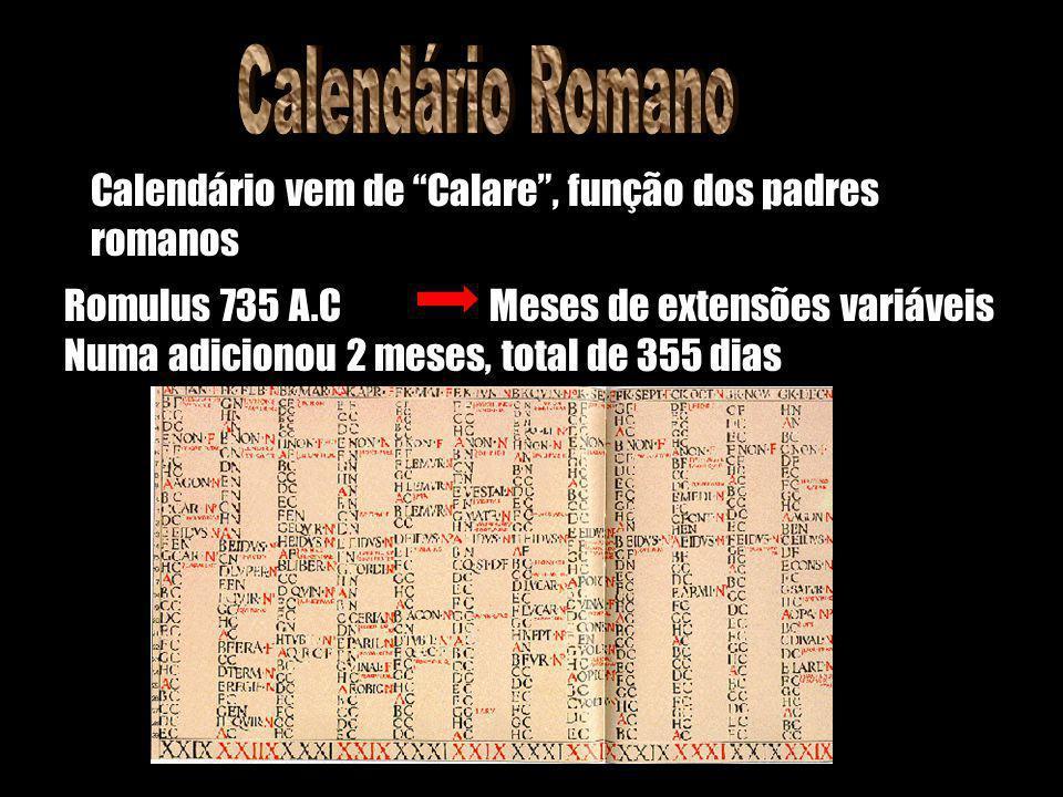 Calendário Romano Calendário vem de Calare , função dos padres