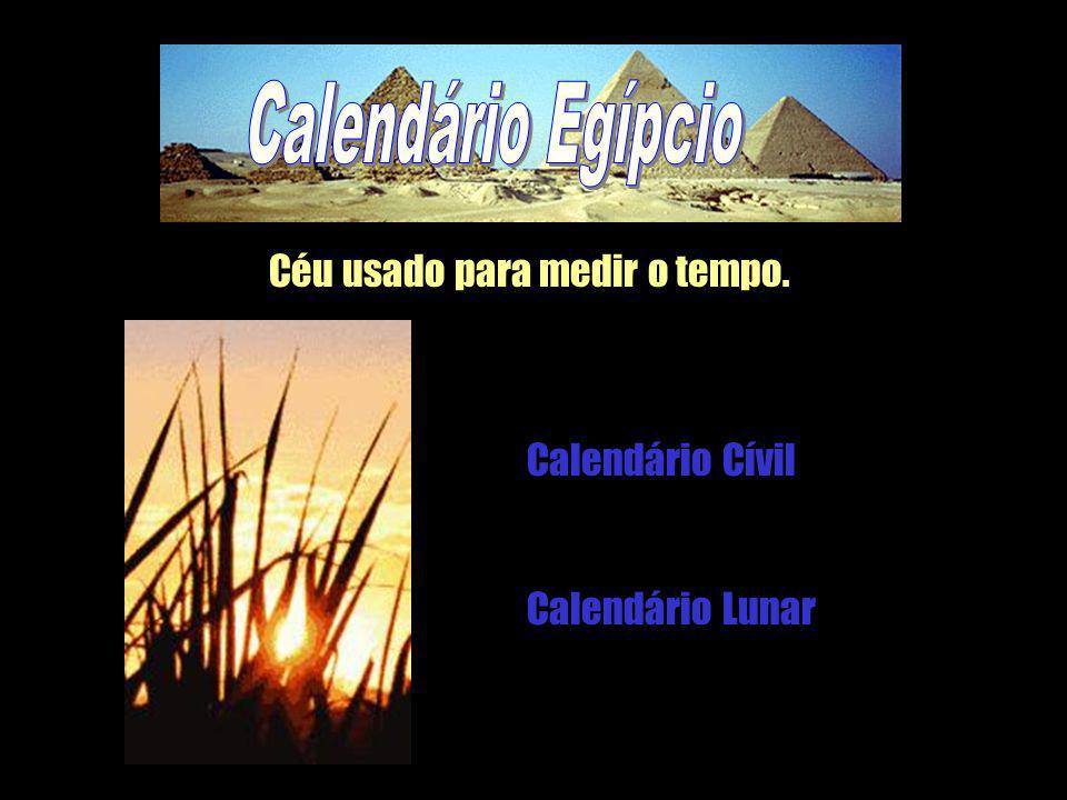 Calendário Egípcio Céu usado para medir o tempo. Calendário Cívil