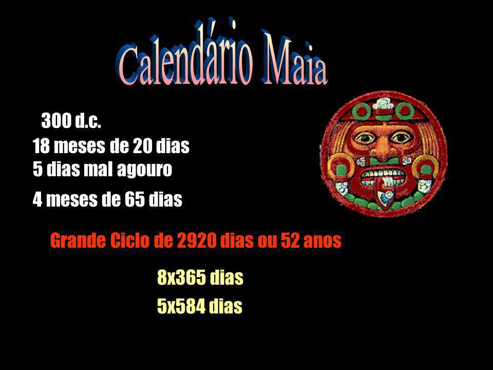 Calendário Maia 300 d.c. 18 meses de 20 dias 5 dias mal agouro