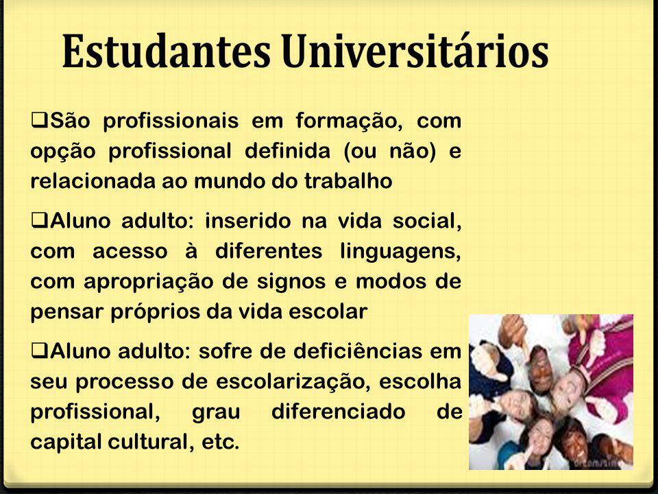 São profissionais em formação, com opção profissional definida (ou não) e relacionada ao mundo do trabalho