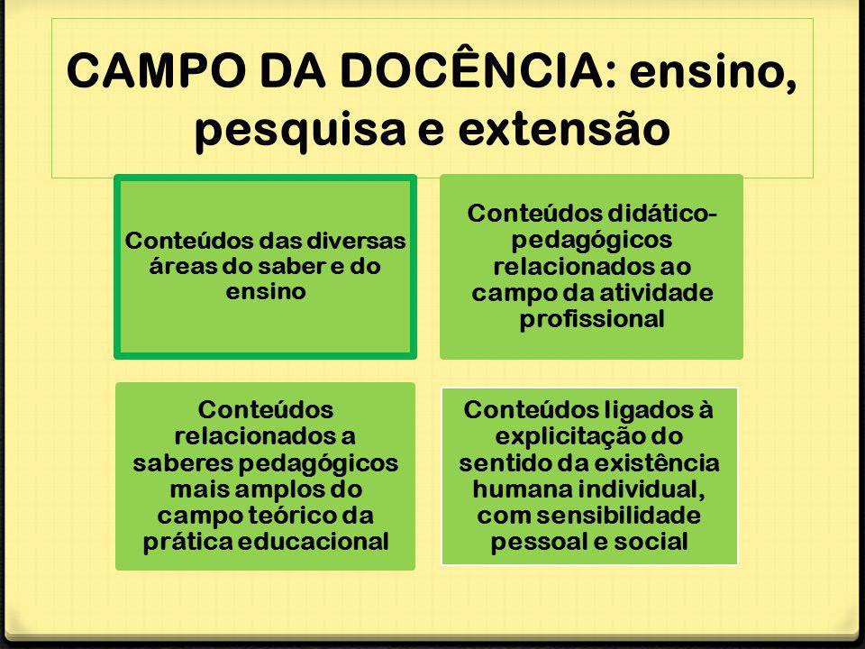 CAMPO DA DOCÊNCIA: ensino, pesquisa e extensão