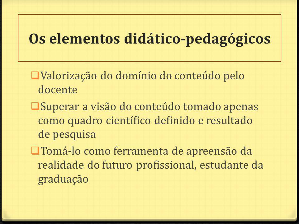 Os elementos didático-pedagógicos