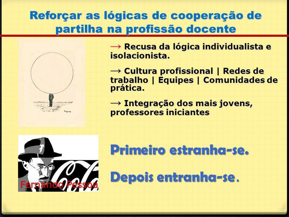 Reforçar as lógicas de cooperação de partilha na profissão docente