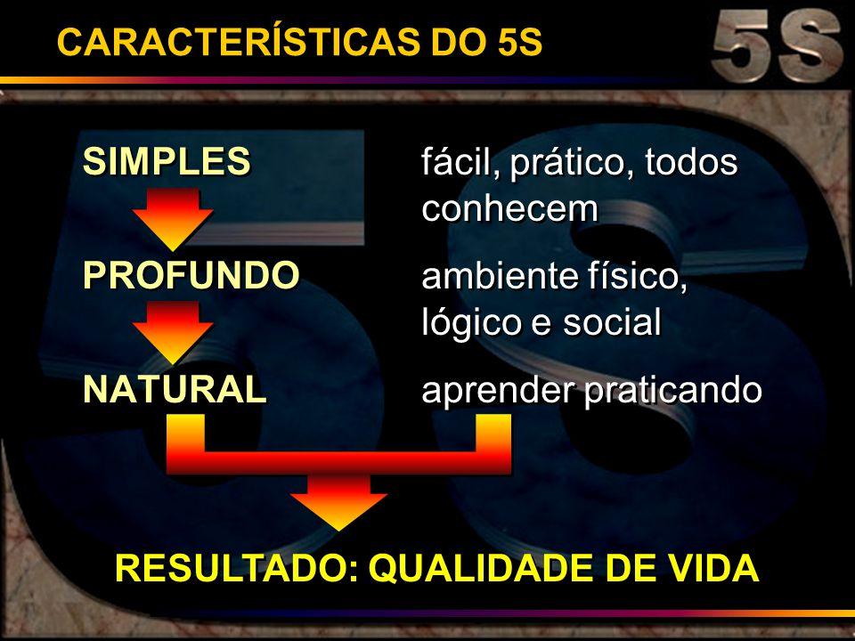 CARACTERÍSTICAS DO 5S SIMPLES fácil, prático, todos conhecem. PROFUNDO ambiente físico, lógico e social.