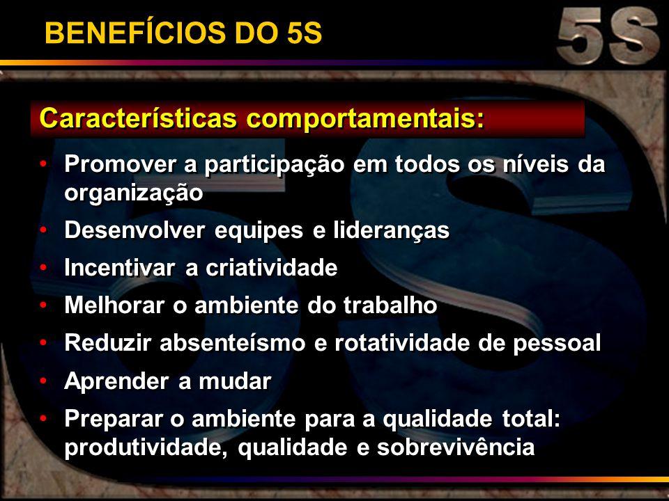 BENEFÍCIOS DO 5S Características comportamentais: