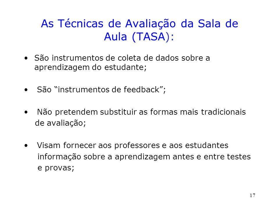 As Técnicas de Avaliação da Sala de Aula (TASA):