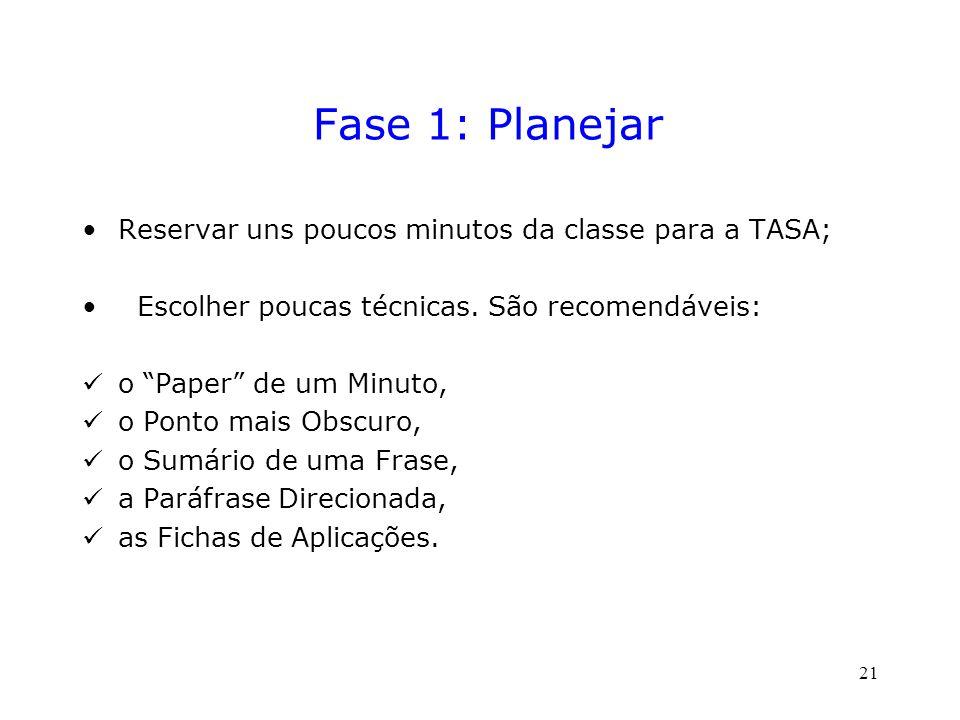 Fase 1: Planejar Reservar uns poucos minutos da classe para a TASA;
