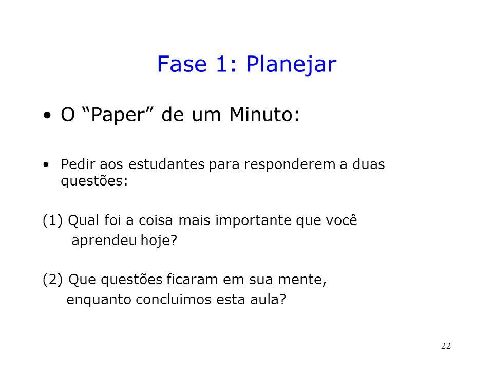 Fase 1: Planejar O Paper de um Minuto: